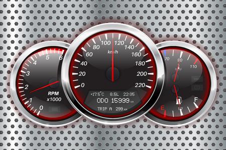 Speedometer, tachometer, fuel and temperature gauge Illustration