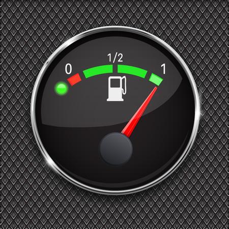 Black fuel gauge with chrome frame. Full tank