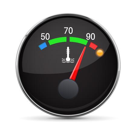 Auto motor temperatuurmeter. Warm. Met metalen frame