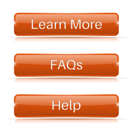 FAQs, Learn More, Help buttons. Orange 3d icons