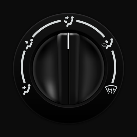 dashboard: Air flow selector. Car dashboard black switch