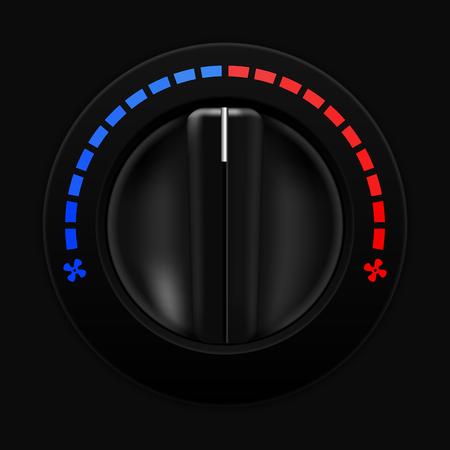 airflow: Air temperature selector. Car dashboard black switch