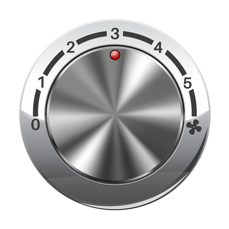 Fan speed selector. Car dashboard chrome switch Illustration