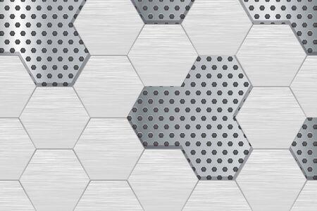 Metal perforated background with steel hexagons Ilustração
