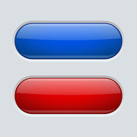 Blue and red oval buttons. On gray plastic background