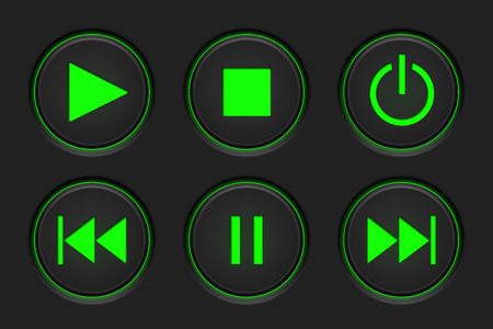 Media player main buttons set. Black and green