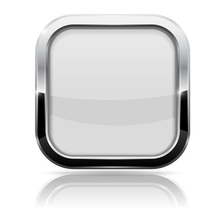 White Glass Button. Square Shiny 3d Icon With Metal Frame Royalty ...