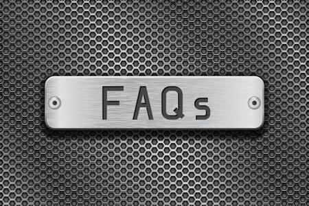 よくあるご質問はメタル ボタン プレートです。金属の背景を穿孔します。ベクトル 3 d イラスト