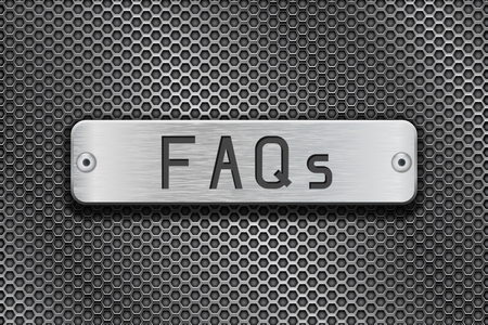 FAQs metal button plate. On metal perforated background. Vector 3d illustration