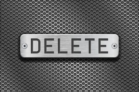 steel plate: DELETE metal button plate. On metal perforated background