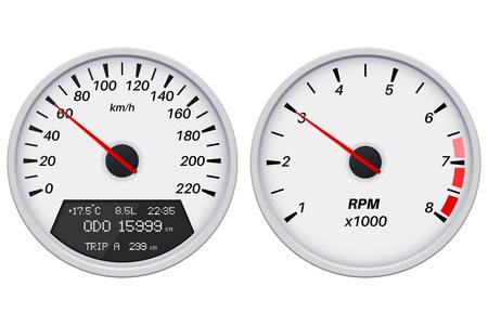 Speedometer and tachometer. White gauge