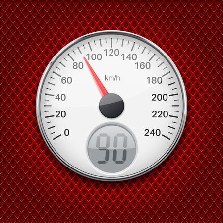 Speedometer. Round gauge with chrome frame