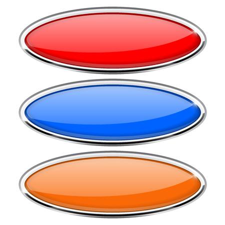 金属フレームの楕円形ガラス ボタン。色は設定イラストです。