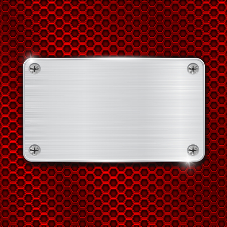 steel plate: Red perforated background with metal brushed plate attached with screws illustration.