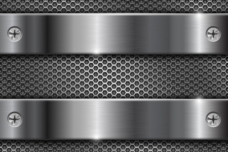 Metal perforated background with brushed stripes with screws illustration.