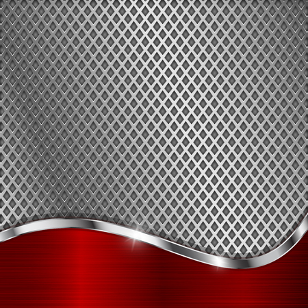 Metal perforated background with red curve element. Diamond shape holes illustration.