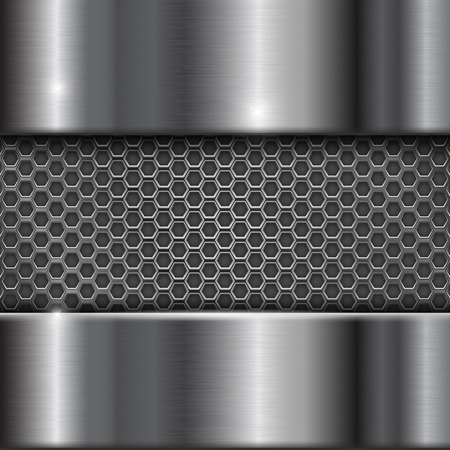 brushed: Metal stainless steel background with perforation illustration.