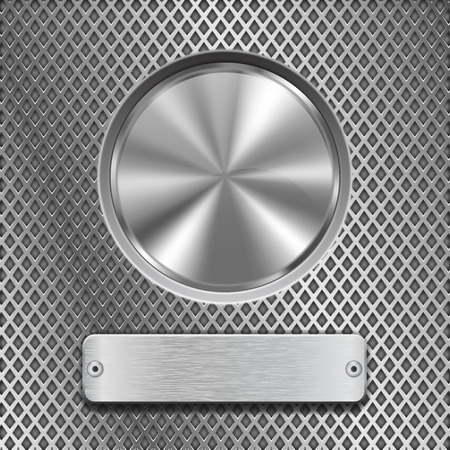 brushed steel: Metal round button on stainless steel perforated background illustration.