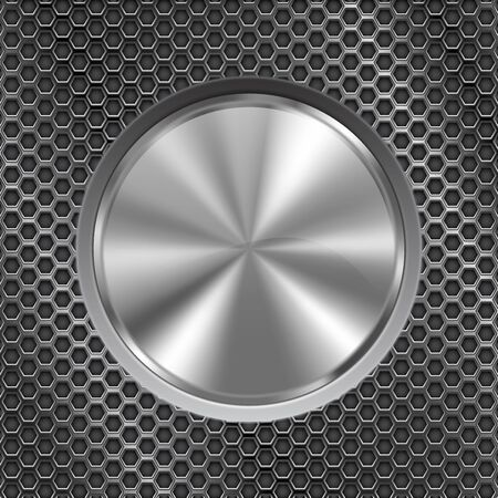middle: Metal round button on perforated background illustration.