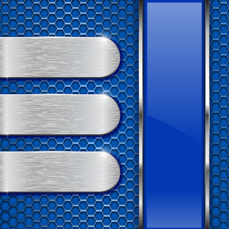 Blue background. Metal perforation with stainless steel plates and glass stripe. Vector 3d illustration