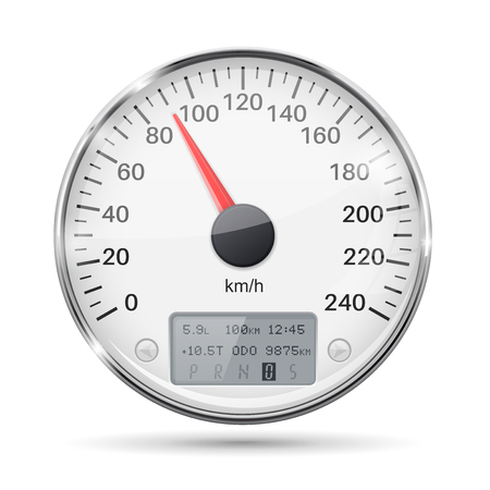 A Speedometer round white gauge with chrome frame.