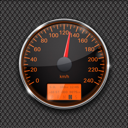 dashboard: Speedometer. Round black gauge with chrome frame Illustration