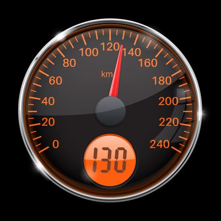 Speedometer. Round black gauge with chrome frame. Vector 3d illustration on black background