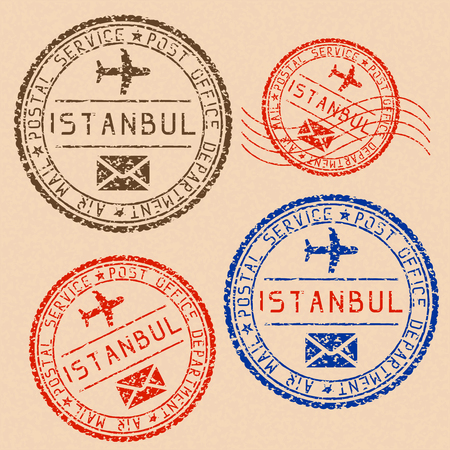 Istanbul mail stamps collection. Faded colored impress. Vector illustration on beige background Illustration