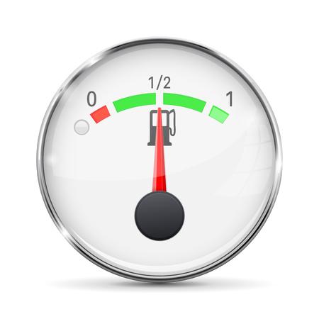 Fuel gauge with metal frame. Half tank. Vector illustration on white background Ilustração