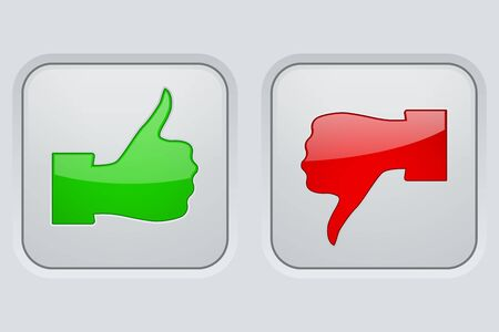 disapprove: Thumbs up and thumbs down icons. White square buttons Illustration