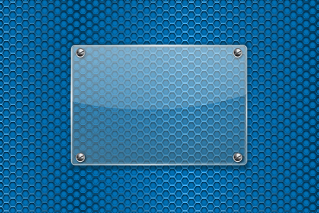 steel industry: Transparent glass plate on blue metal perforated background