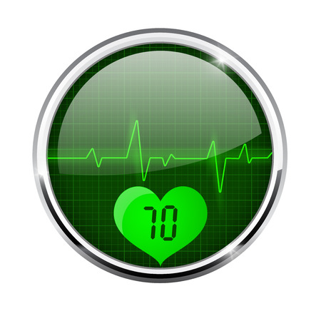Electrocardiogram sign with pulse 70 indication. Green round 3d icon with chrome frame Illustration