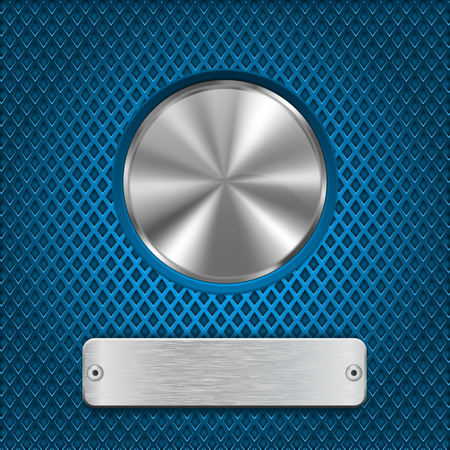 rivets: Metal round button and scratched rectangle plate on blue perforated background Illustration