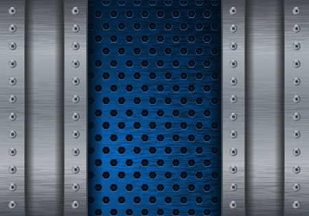 steel plate: Blue metal perforated background with side plates and rivets