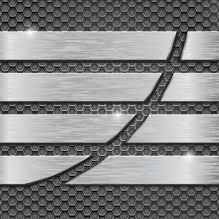 brushed: Metal perforated background with metal plates