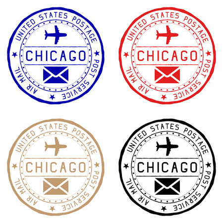 Chicago mail stamps. Colored set of round impress