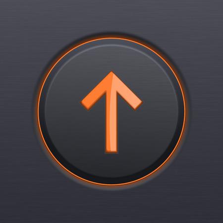 Black UP button with orange arrow Ilustração