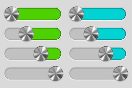 volume knob: Web interface slider set. User interface control bar on gray background Illustration