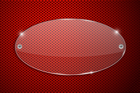 Transparent glass plate on red perforated background