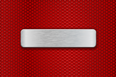 Metal brushed plate on red perforated background