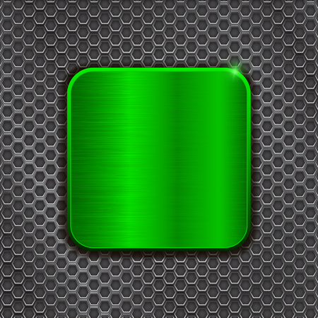 scratched: Green metal square plate on iron perforated background