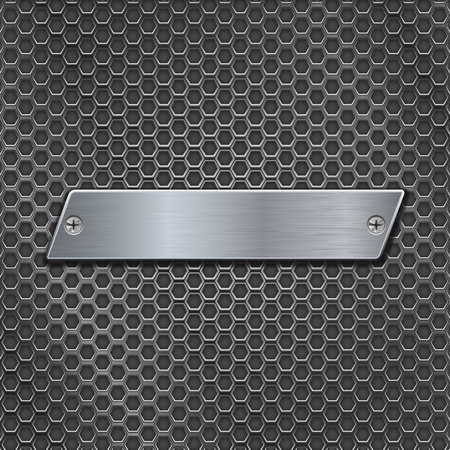 Metal plate on iron perforated background
