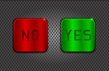 scratched: YES and NO buttons on metal perforated background