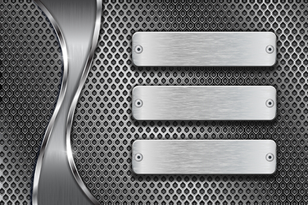 Metal perforated background with blank steel plates and chrome wave Illustration