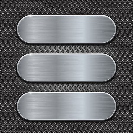 diamond plate: Metal brushed plates on perforated background