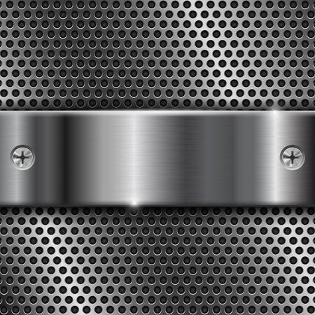 steel plate: Metal perforated background with stainless steel plate
