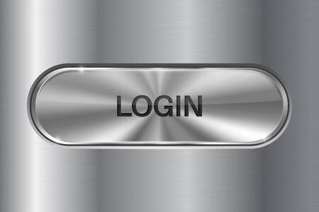 Metal oval button on stainless steel background. LOGIN 3d icon