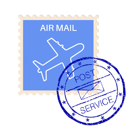 stempel: International air mail stamp with post service round impress