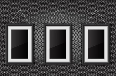 Three black empty pictures on metal perforated background
