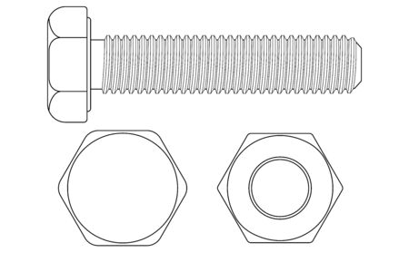 Bolt screw. Outline drawing. illustration isolated on white